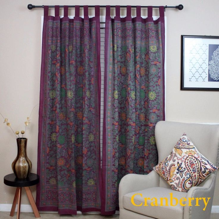 Handmade 100% Cotton Sunflower Floral Tab Top Curtain Drape Door Panel Navy Blue Gray Yellow Black Red 44x88 Inches (