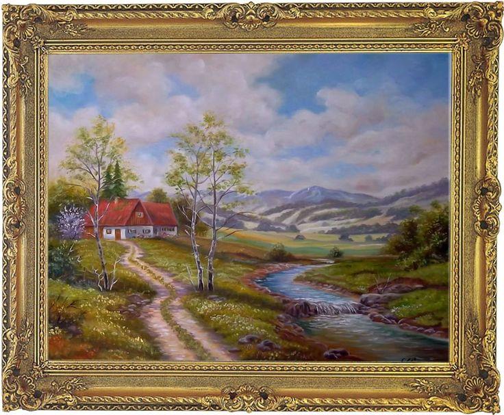 Landschaft Landschaftsgemälde Bild Original Gemälde Ölmalerei mit Barockrahmen