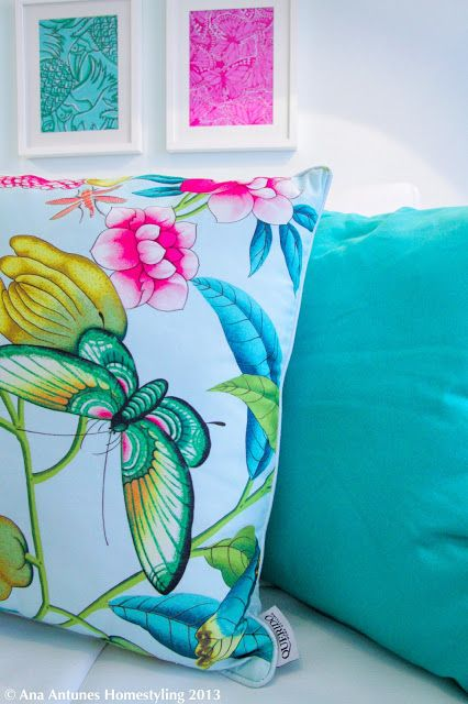 Project for 'Querido Mudei a Casa' Portuguese Home Makeover Show - Apartment for 4 girls - colorfull - happy - fresh - airy - tropical pattern - fabric