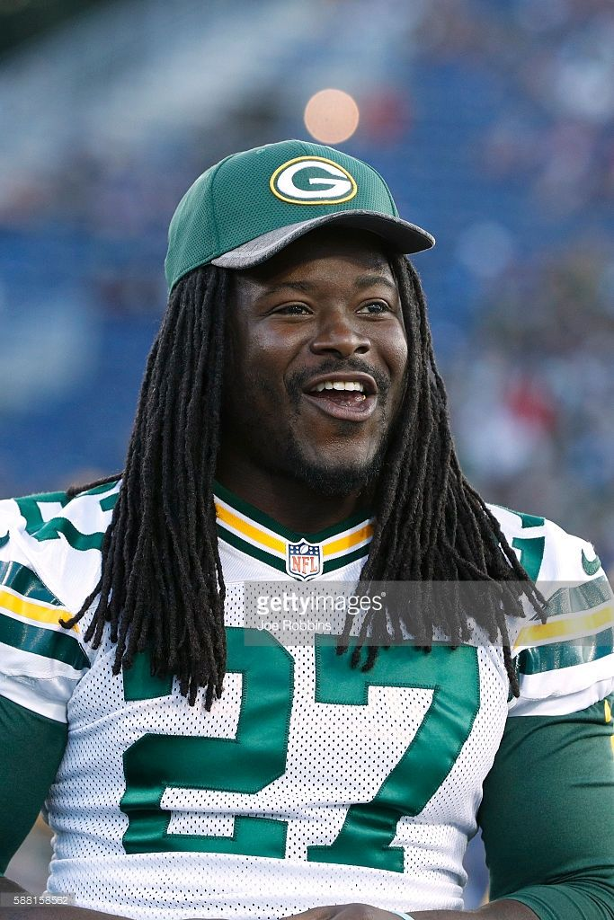 Eddie Lacy #27 of the Green Bay Packers looks on after the NFL Hall of Fame Game against the Indianapolis Colts was canceled due to poor field conditions at Tom Benson Hall of Fame Stadium on August 7, 2016 in Canton, Ohio.