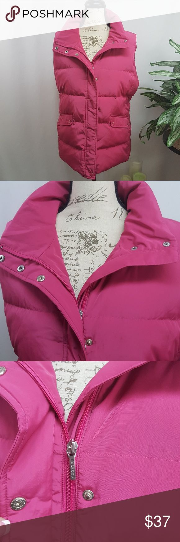 "Talbots Plus Size Puffer Vest X In excellent used condition. One small faint spot on front left shown in last picture. Not noticable until you are looking for it.  Pink puffer vest from Talbot's. Zip and snap closure, 2 functioning pockets with snap closure. Size X X=12W 41"" bust, 35"" waist, 43"" hip per Talbot's online size chart. Talbots Jackets & Coats Vests"