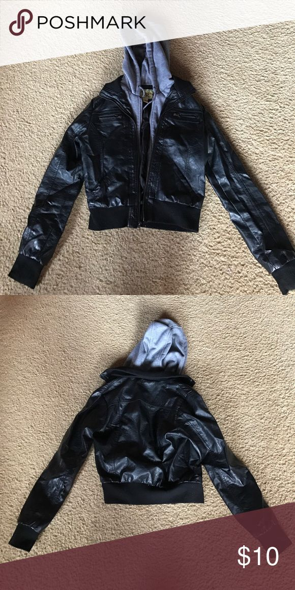 Black faux leather jacket with hood! Worn many times! Still in good condition! Great for mild winter days! jcpenney Jackets & Coats Utility Jackets