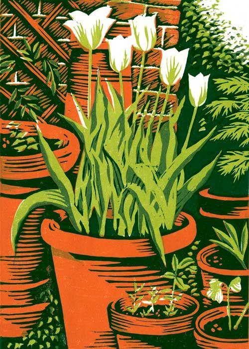 Spring Green Tulips Linocut 18 X 13 Cm GBP95