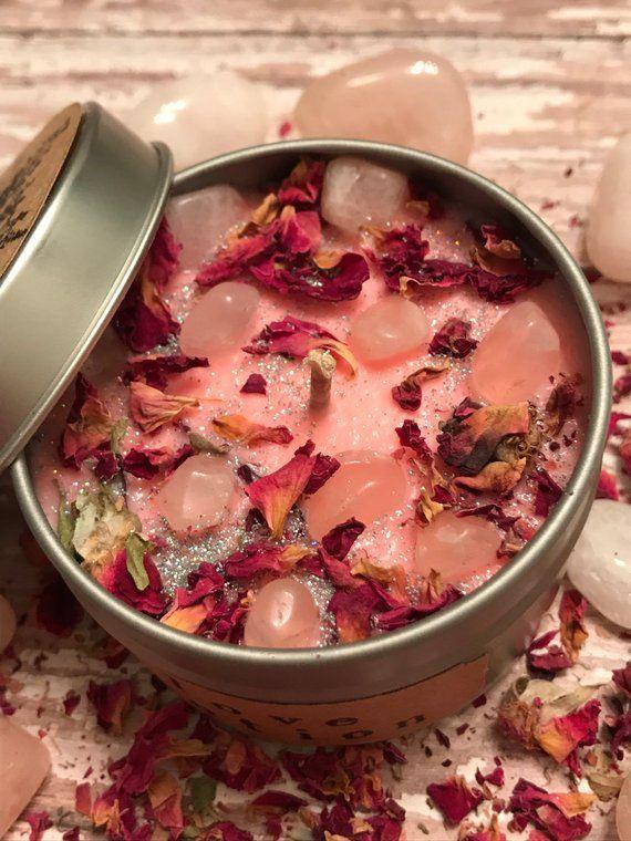 Crystal Candle, Botanical Candle,Sweet pea scented ,Rose quartz Candle,Travel candle,Crystal candle,