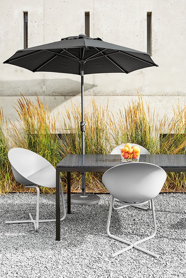 Our umbrellas can be used with a table or as freestanding shade, which allows you to move the umbrella as the sun changes throughout the day. A crank lift and push-button tilt make them easy to use and reposition.