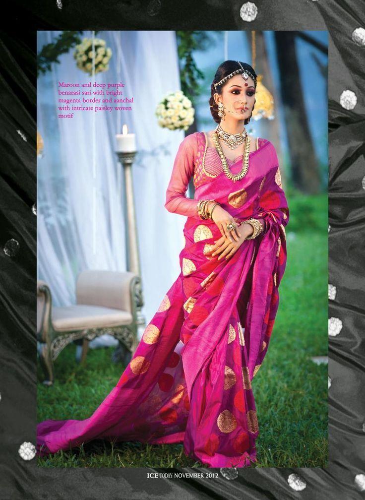 Bridal Wear Maroon and Deep Purple Banaras Sari with zari Polka dots.