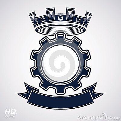 Vector el elemento del diseño industrial, la rueda del diente con una corona y la cinta curvy decorativa negra Icono de alta cali