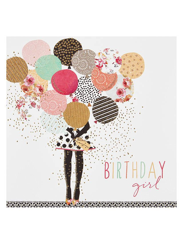 Buyportfolio Balloon Girl Birthday Card Online At Johnlewis Com