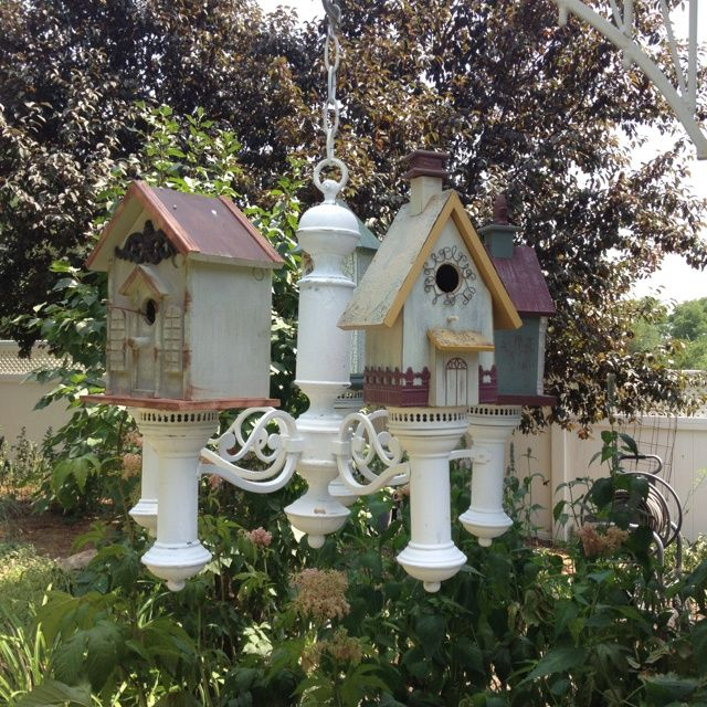 Chandelier with Birdhouses. In Birmingham, AL get awesome service on your sprinkler and landscape lighting, www.BlueSkyRain.com.