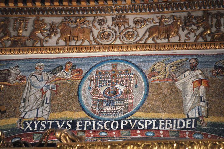 Santa Maria Maggiore, Roma, I mosaici , 432-440. L'etimasia e gli apostoli Pietro e Paolo ai lati. Foto di Pavel Otdelnov