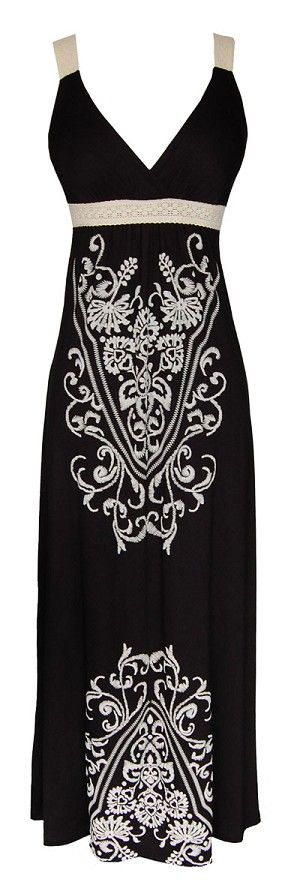 Black Embroidery Maxi Dress  You can find similar items like this at www.occasionallblackandwhite.com