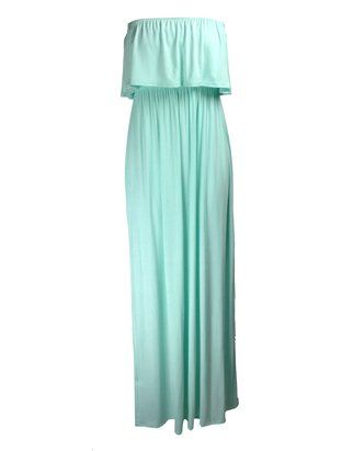 The Home of Fashion New Womens Mint Green Frill Top Boobtube Bandeau Jersey Summer Maxi Dress Size 8-14 (SM (8-10))
