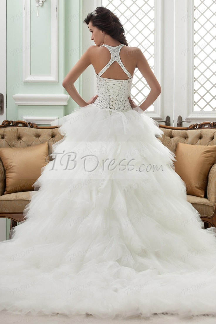 81 best wedding dresses images on pinterest 5 star hotels 60 s fabulous ball gown straps cathedral train ruffles wedding dress ombrellifo Image collections