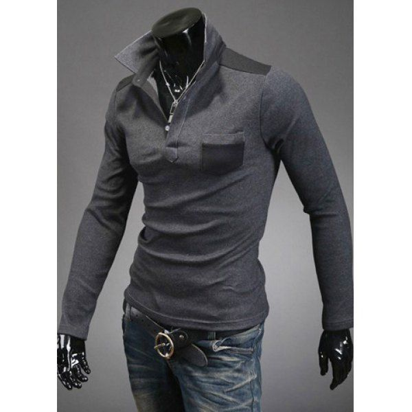 Slimming Trendy Turn-down Collar Color Splicing Pocket Embellished Long Sleeves Men's Cotton Blend Polo T-Shirt, DEEP GRAY, L in T-Shirts & Vests | DressLily.com