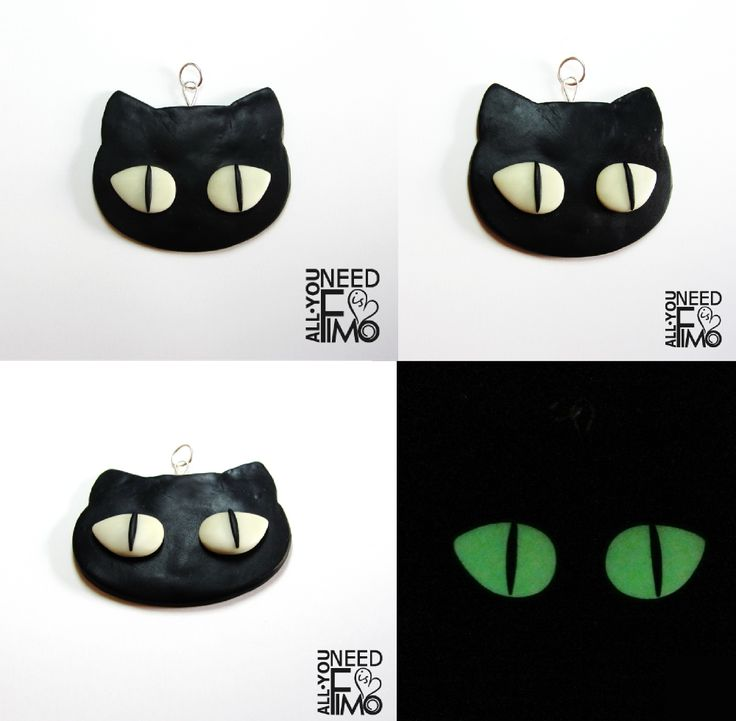 Fimo pendant with black cat. Cat eyes glow in the dark!  INFO: https://www.facebook.com/AllYouNeedIsFimo/photos/a.937250929688782.1073741828.932013750212500/1089668017780405/?type=3&theater  #fimo #polymerclay #artigianato #fattoamano #handmade #pendant #ciondolo #black #nero #gatto #cat #fluo #fluorescent #glowinthedark #cateyes #blackcat #gioielli #jewels #halloween #dark #etsy #etsyshop #allyouneedisfimo #fimocreations #etsyfinds #instagood #etsysellersofinstagram #shoppingonline…