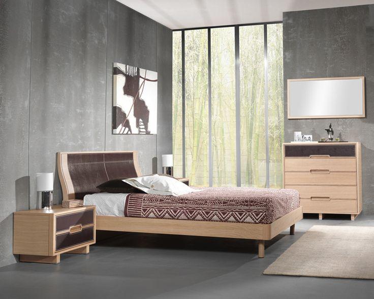 Amueblamiento dormitorio cama tapizada mesitas cómoda y espejo - Mobelpark