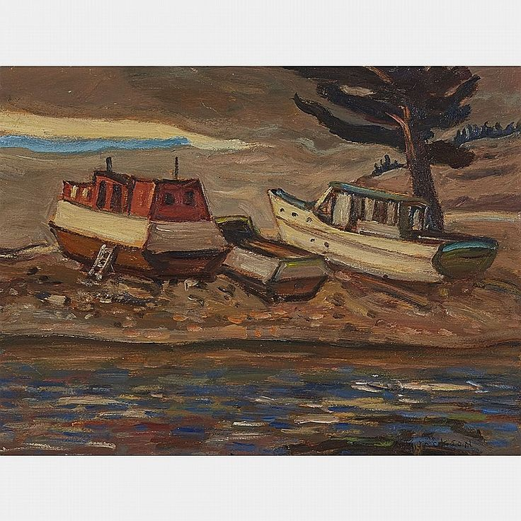 A.Y. Jackson - Boats at Montreal River Lake Superior 10.5 x 13.5 Oil on panel