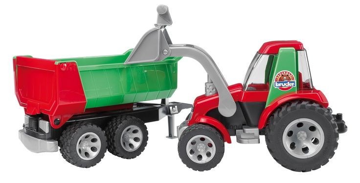 Bruder Tractor with Frontloader and Rear Tipper. Incredible realistic detail. Made in Germany. Manufactured from high-quality plastics such as ABS. Suitable for playing indoors and outdoors. Scale 1:16.