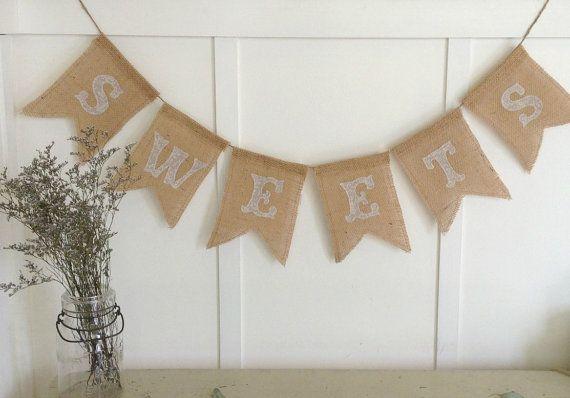 Sweets Burlap Banner Bunting Wedding Fabric Appliqué Chevron Style