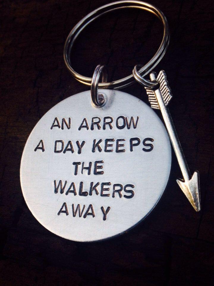 "Zombie undead walking dead inspired keychain ""An arrow a day keeps the walkers away."" by SophiaWJewelryDesign on Etsy https://www.etsy.com/listing/183736498/zombie-undead-walking-dead-inspired"
