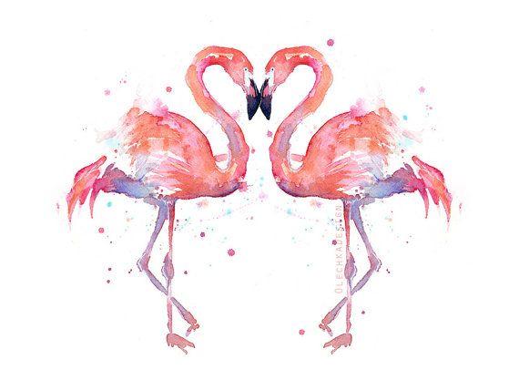 Dos pájaros flamencos acuarela pájaros del amor por OlechkaDesign