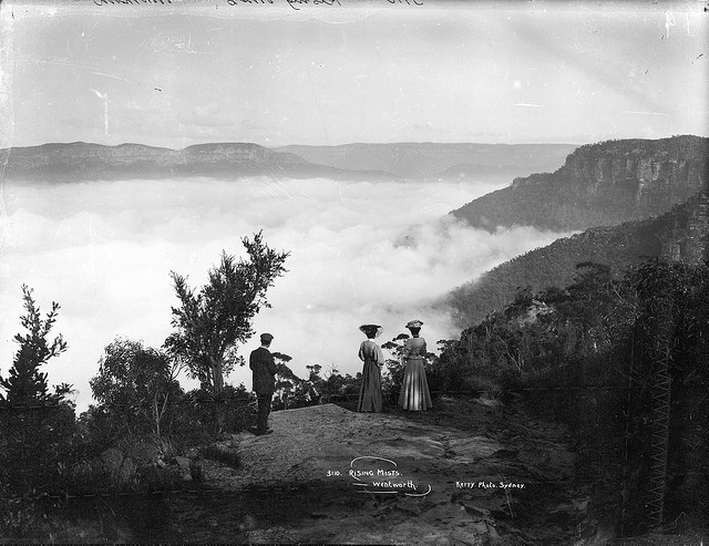 Amazing photo from 1900- Rising Mists near Wentworth Falls, Blue Mountains.