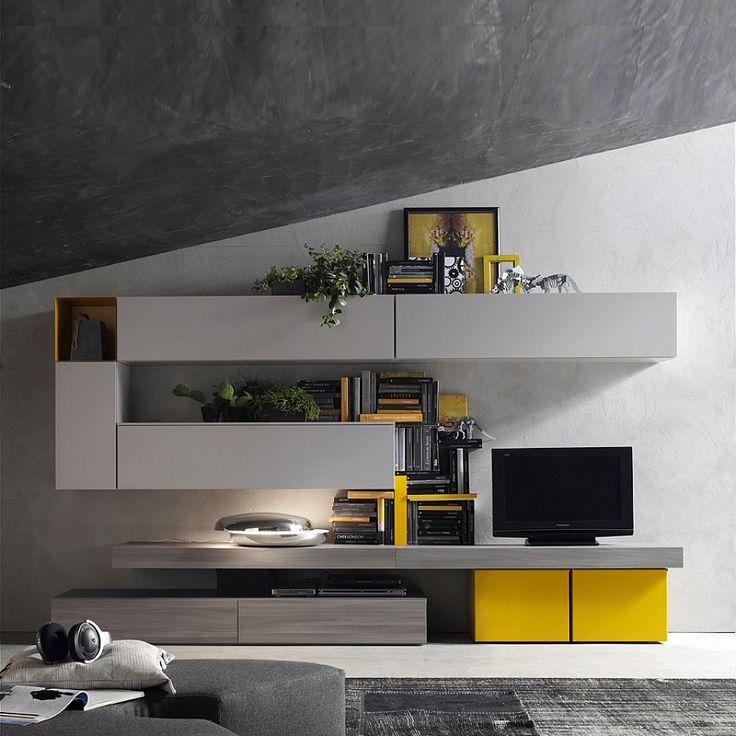 Modern Italian TV media unit Yellow-Grey by Santa Lucia  L 360 - H 170 - D 38.6/49.3 cm