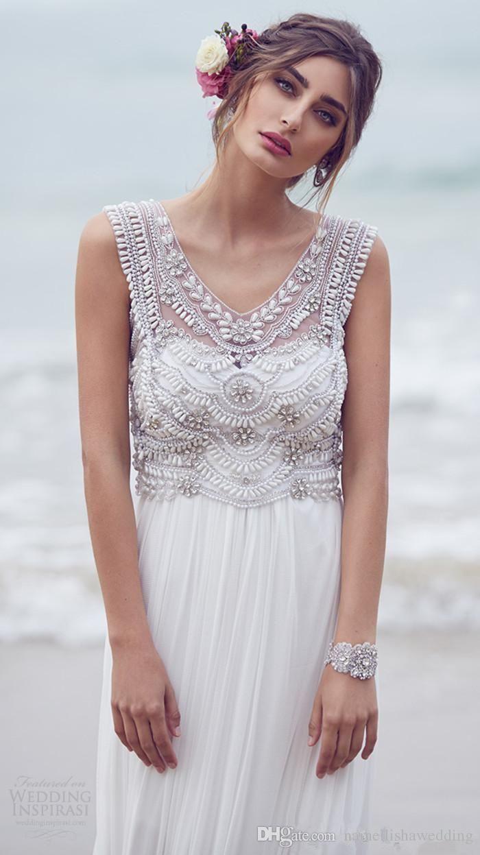 Anna Campbell Bohemian Brautkleider Designer 2016 Modest mit V-Ausschnitt Crysta…