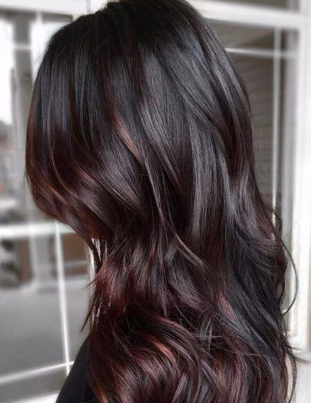 Chocolate Brown Hair With Plum Highlights Auntie Lulu Pinterest