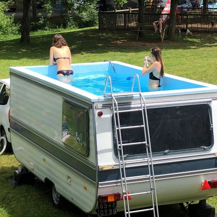 French Artist Benedetto Bufalino Transformed An Old Rv Caravan Into A Fully Functioning Swimming Pool Plus He Restores Swimming Pools Diy Camper Trailer Pool