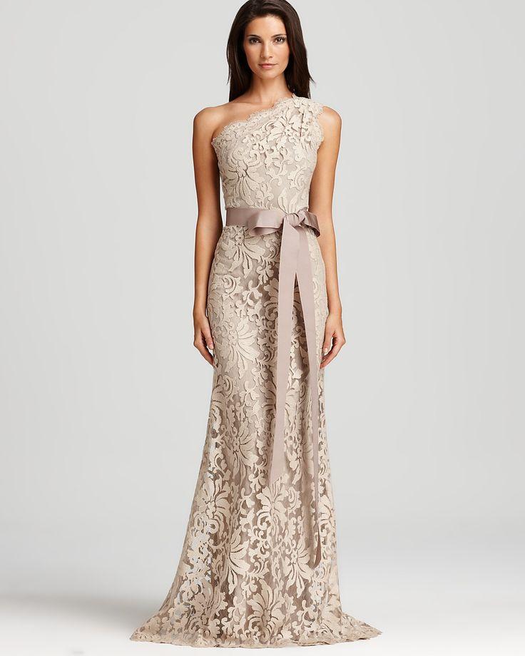 Tadashi Shoji Lace Gown One Shoulder Bloomingdale S