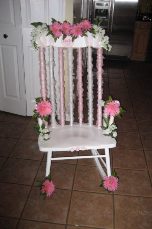 baby shower decorated rocking chair my diy party decor pinterest