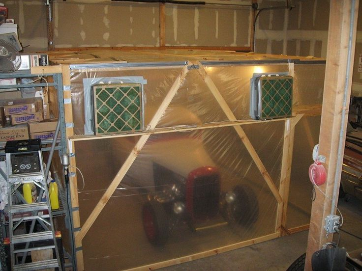 Homemade Collapsible Paint Booth Constructed From Lumber Plastic Sheeting A Fan And Filter