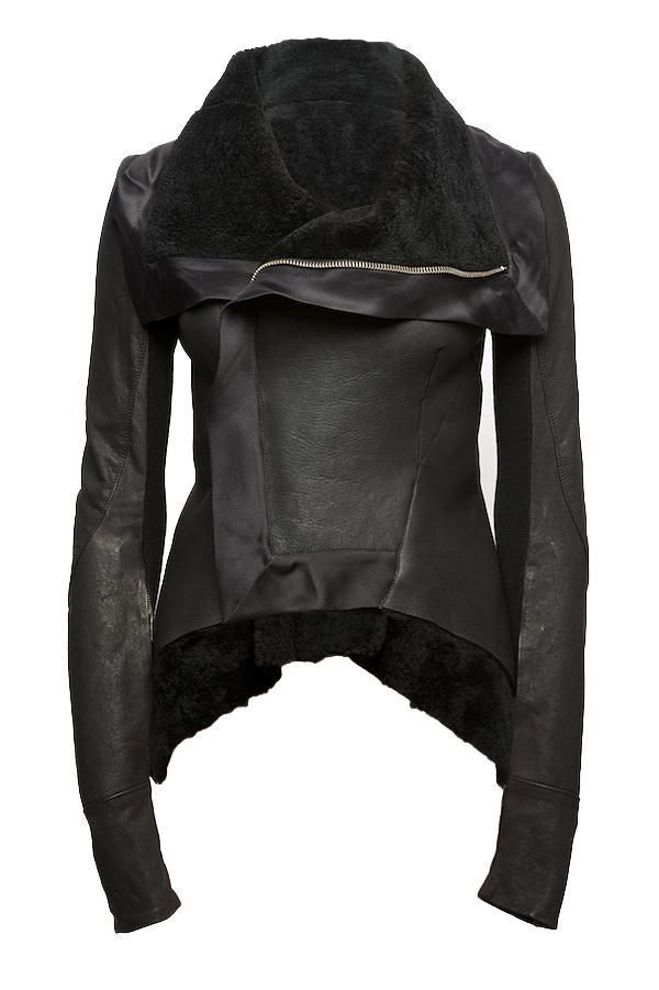 Rick Owens leather shearling jacket