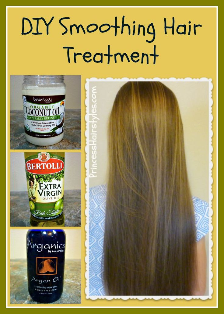 DIY smoothing hair treatment recipe and tutorial.  Coconut oil, olive oil, argan oil.