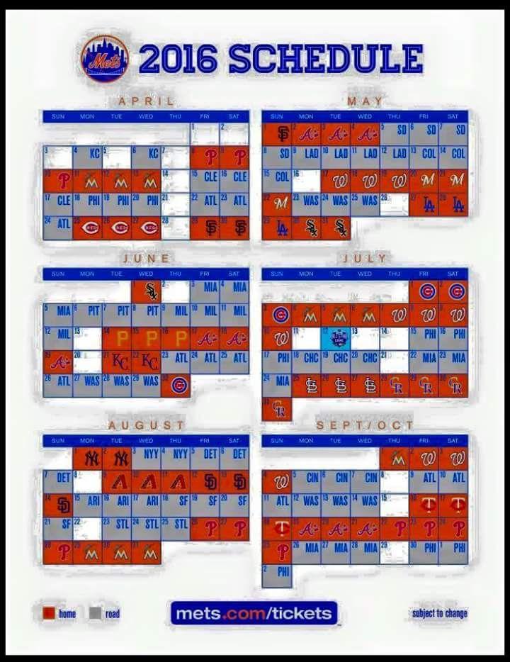 2016 New York Mets Schedule
