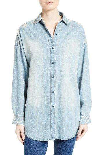 Free shipping and returns on IRO Prune Distressed Chambray Shirt at Nordstrom.com. Pre-order this style from the Spring 2017 collection! Limited quantities. Ships as soon as available. You'll be charged only when your item ships.Ragged holes, distressed shredding and a faded wash deliver worn-in character and IRO's signature grungy attitude to this drop-shoulder chambray shirt.