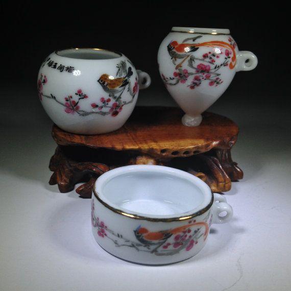 Vintage Chinese  Bird Feeders 3    Jingdezhen Style