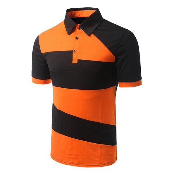 Turn-down Collar Color Block Short Sleeves Polo T-Shirt For Men