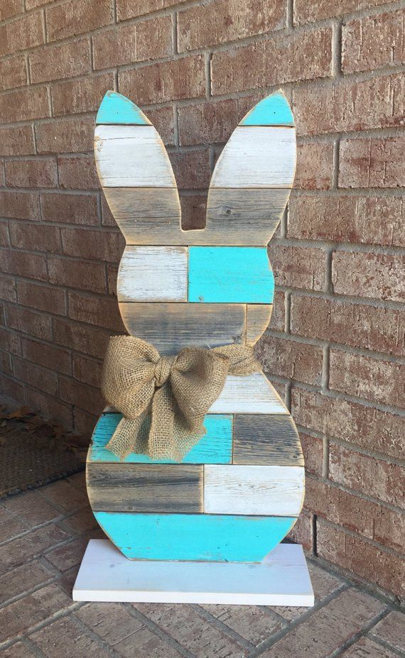 Standing Wood Bunny Bunny 31 Inch Farmhouse Reclaimed Wood