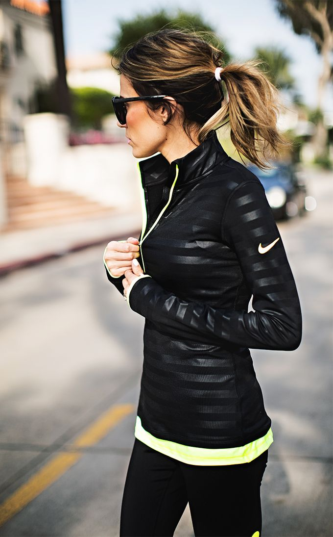 Cold weather fitness outfit - stripped nike jacket