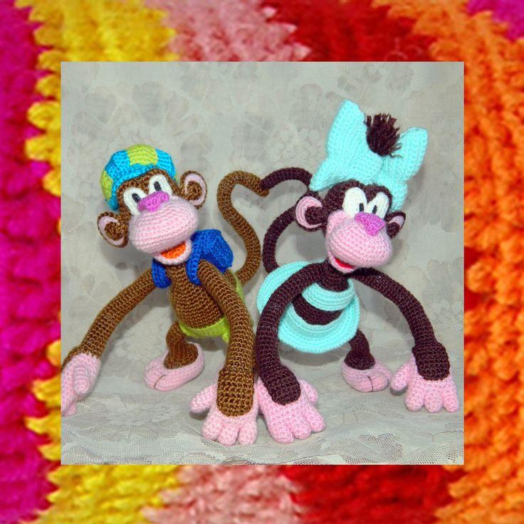 Amigurumi Pattern. Crochet Monkey Boy and Monkey Girl by InspiredCrochetToys on Etsy https://www.etsy.com/listing/243593715/amigurumi-pattern-crochet-monkey-boy-and