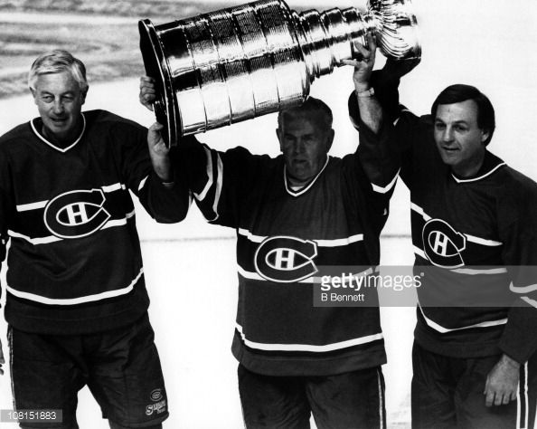 MONTREAL, QC - FEBRUARY 6: (L-R) Former Montreal Canadiens Jean Beliveau #4, Henri Richard #18 and Guy Lafleur #10 skate on the ice with the Stanley Cup Trophy before the 1993 44th NHL All-Star Game with the Wales Conference and the Campbell Conference on February 6, 1993 at the Montreal Forum in Montreal, Quebec, Canada. The Wales Conference defeated the Campbell Conference 16-6. (Photo by B Bennett/Getty Images)
