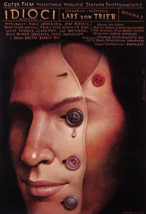 """MP422. """"The Idiots"""" Polish Movie Poster by Wieslaw Walkuski (Lars Von Trier 1998) / #Movieposter"""