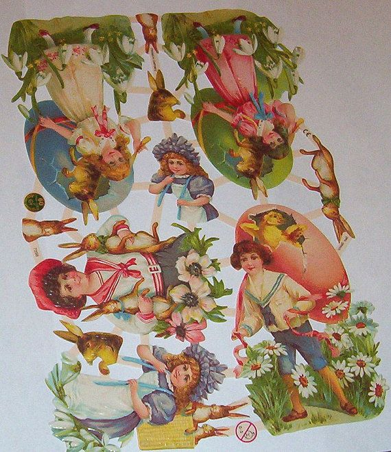 New large Victorian German litho scrap diecut cute Easter Bunny Rabbit colorful eggs children art craft paper decoupage 7298 scrap booking