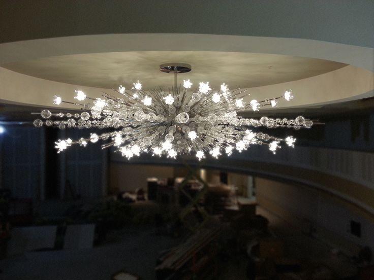 starburst chandelier with crystal beaded at led lights iworks - Starburst Chandelier