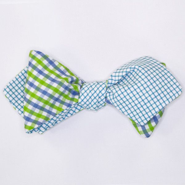Pre tied bow tie - Pale green linen with mini diamond dots Notch dHIkFNg8ab