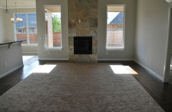 Living Room And Slate Tile Fireplace With Carpet Insert