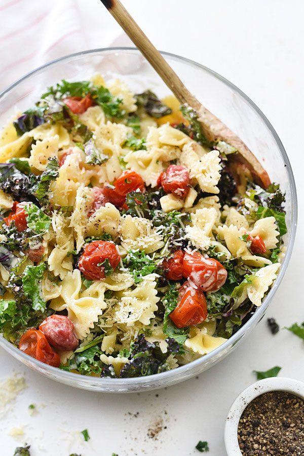 Kale Caesar Pasta Salad | Best summer salad recipes for dinner from @cydconverse