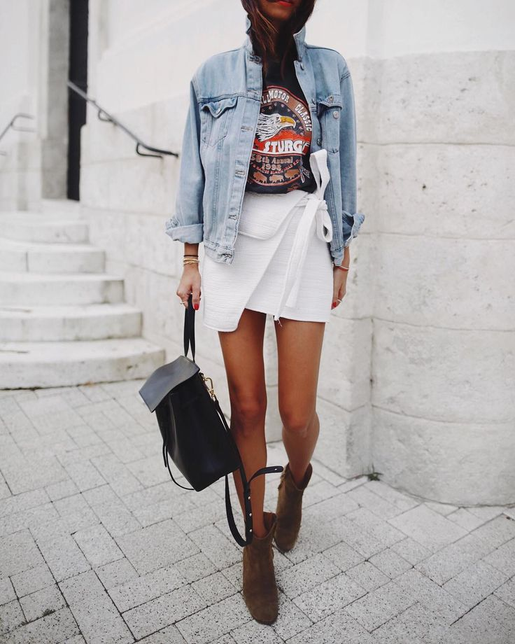 "Andy Csinger on Instagram: ""(European) Summer basics ✔️ // @becandbridge skirt & #Topshop denim jacket / #isabelmarant"""